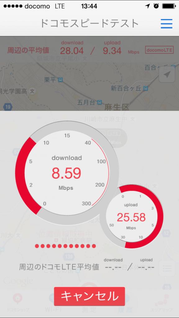 DMM mobile通信速度測定テスト2015/09/11 13:44